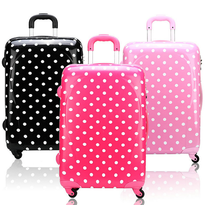 New Women Travel Suitcase ABS+PC Universal Wheels Trolley Luggage Travel Bag Polka Dot Luggage 20 24 inches Rolling Luggage