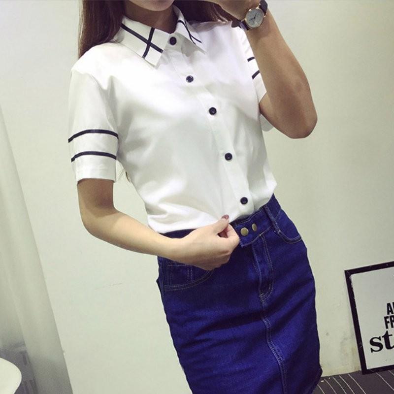 HTB14kVdNXXXXXaaaFXXq6xXFXXXH - Fashion Ladies Office Shirt White Blue Tops Formal