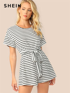 SHEIN White Striped Women Playsuit Summer Casual Rompers