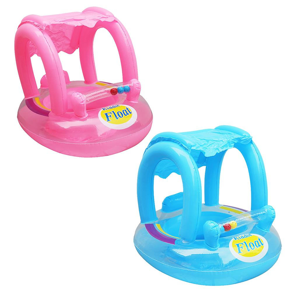 Inflatable Sunshade Baby Kids Water Floating Seat Boat Swimming Ring Pool Toy Children Rubber PVC Circles Safety Pool