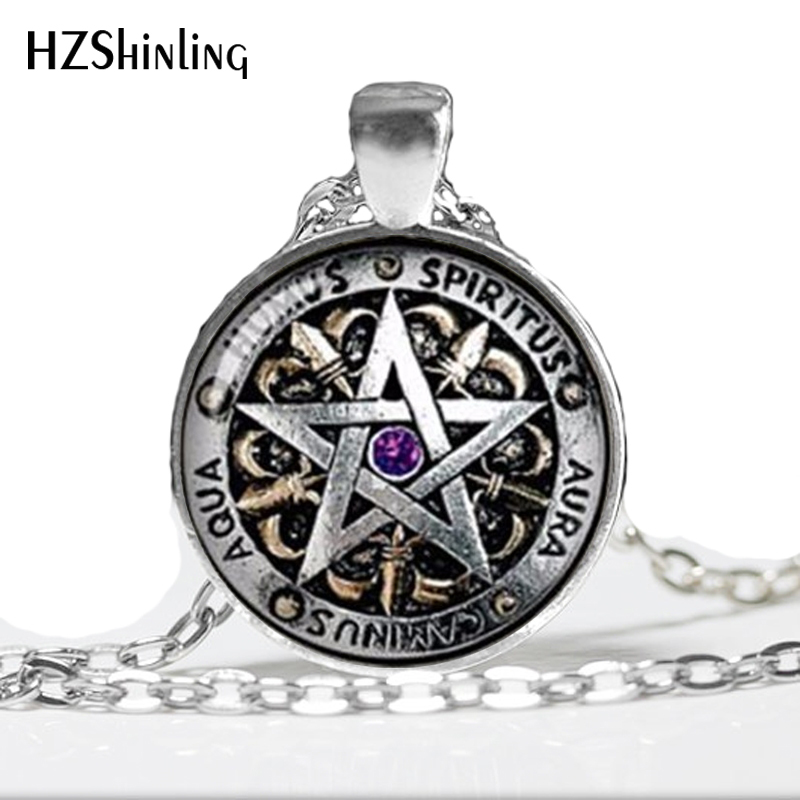 Ожерелье Wiccan с кулоном в виде черной магии, языческой пентаграммы, ожерелье с кулоном из стекла, 2017 год, HZ1