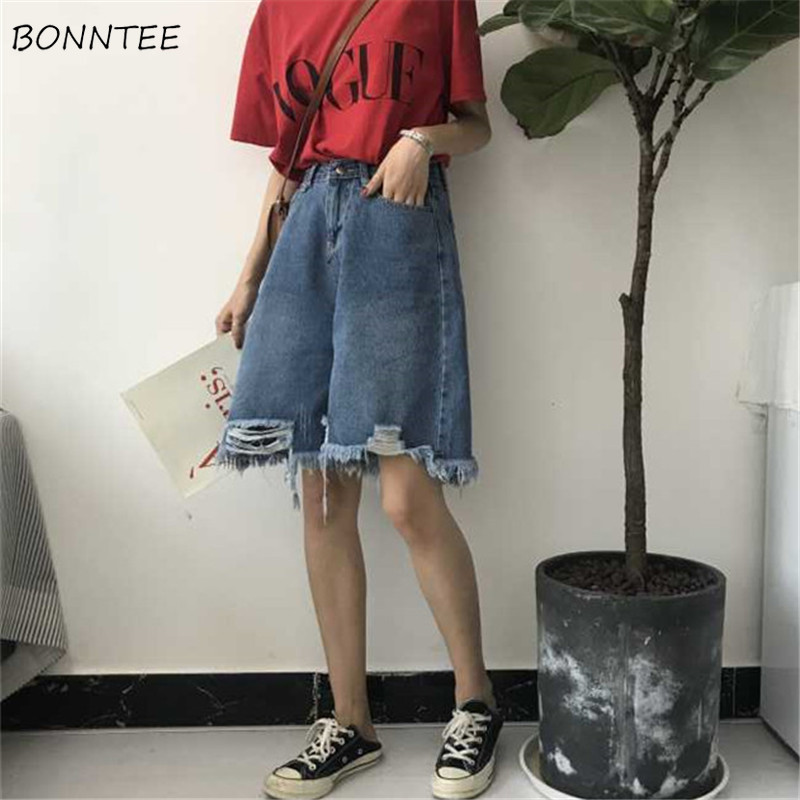 Shorts Women 2019 New Korean Version Irregular Hole Loose Students Trendy Womens All-match Retro Pockets High Waist Female Chic