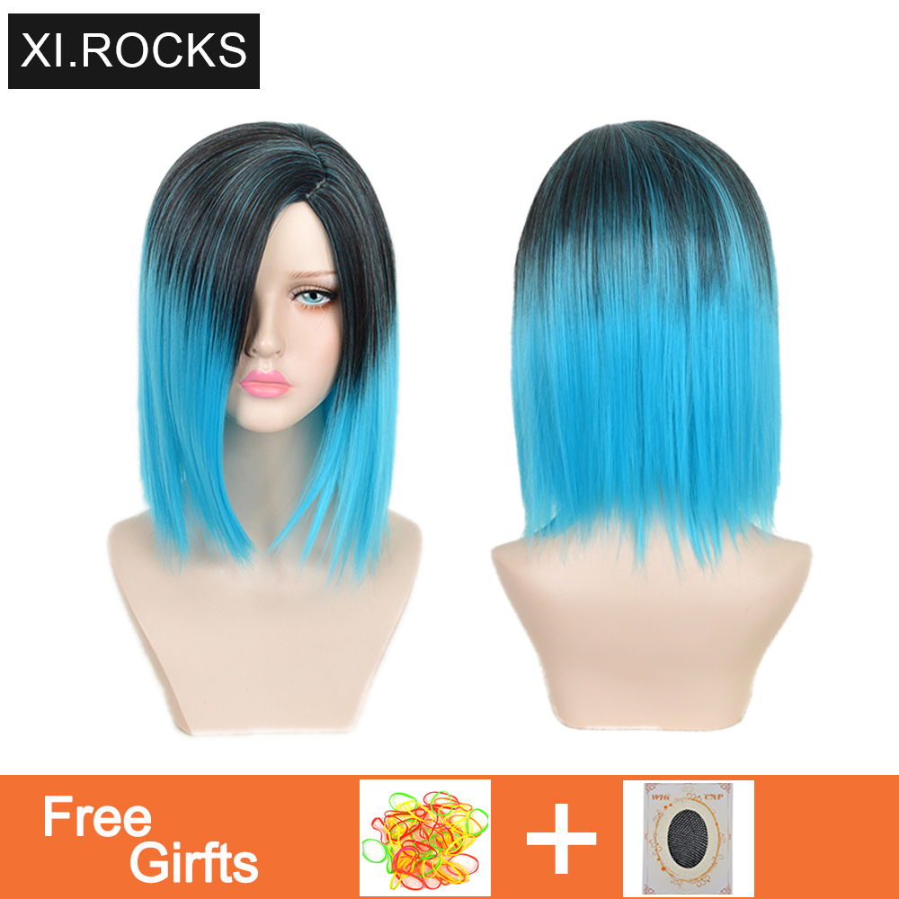 Straight Blonde Synthetic Cosplay Wigs For Women Heat Resistant Brown Ombre Wig Female Hair Woman Wigs For White Woman Wig