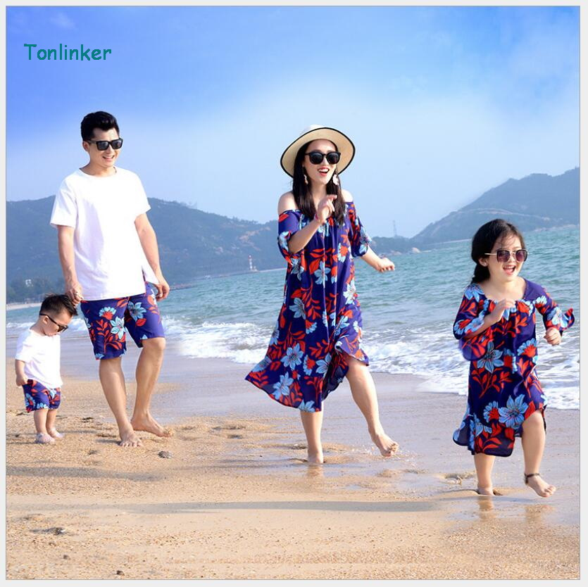 tonlinker Family Matching Outfits summer beach print T-shirt Outfits Mother Daughter chiffon Dresses Father Son Baby Boy Girl