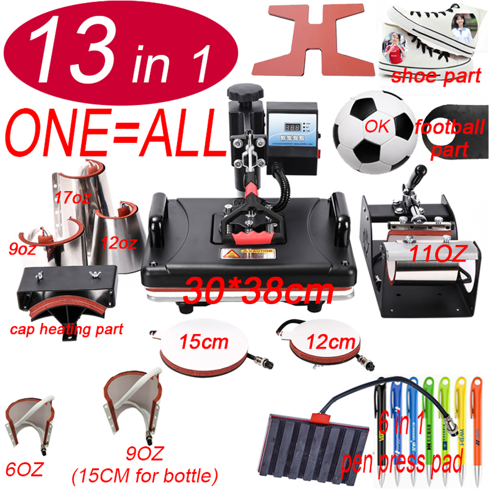 13 In 1 Heat pen Football Press Machine Sublimation Printer shoe Transfer Machine Heat Press For