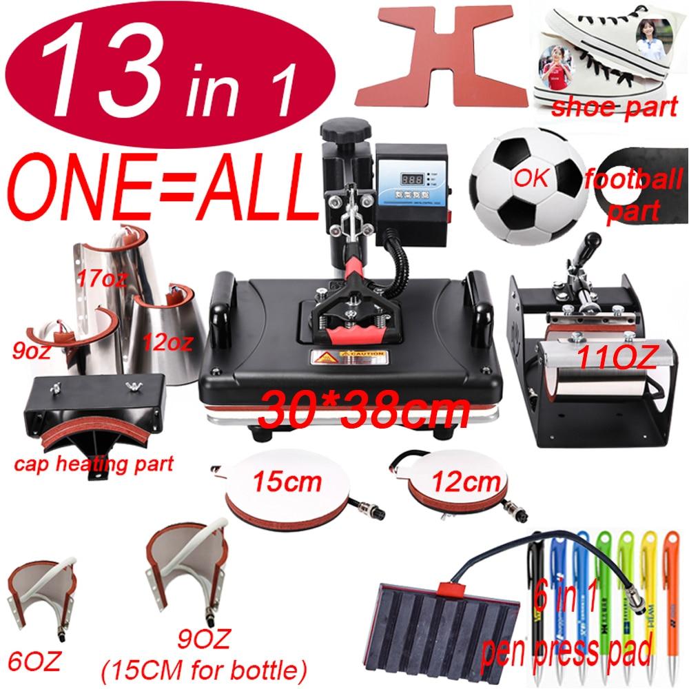 13 In 1 Heat Pen Football Press Machine,Sublimation Printer/shoe Transfer Machine Heat Press For Mug/Cap/T Shirt/shoe/bottle/pen