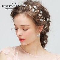 HIMSTORY Handmade Gold Leaf Flower Wedding Headband Bridal Jewelry Floral Hair Accessories Vintage Women Headbands Tiara