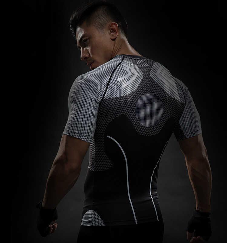 Круглый вырез с коротким рукавом обтягивающая железная Мужская рубашка рукав реглан футболки с 3D-принтом мужские летние фитнес мужские быстросохнущие Топы