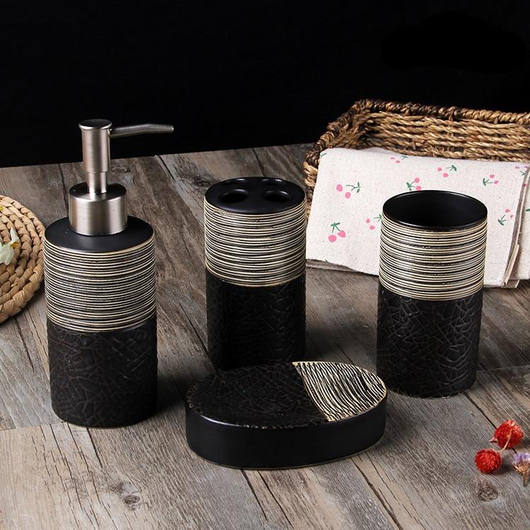 Ensemble de salle de bain en céramique à quatre pièces européen mellow tone articles de toilette porte brosse à dents accessoires de salle de bain-in Ensembles d'accessoires pour salle de bain from Maison & Animalerie    1