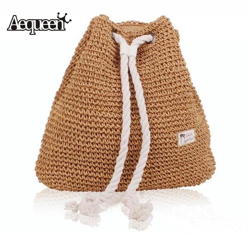 Aequeen 2018 New Fashion Drawstring Backpack Crochet Straw Beach