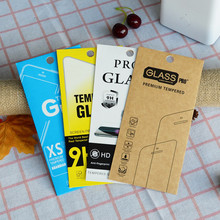 1000pcs 4 Style Kraft paper Glass retail packaging box/paper box/white box for iphone 7 6 6 plus Samsung Screen Protector Film