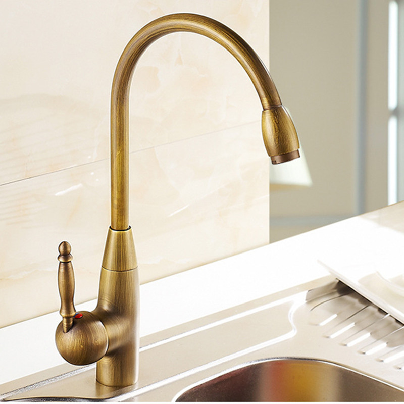 free shipping 360 rotation antique kitchen faucet of deck mounted bronze kitchen sink mixer tap with brass kitchen faucets - Brass Kitchen Sink