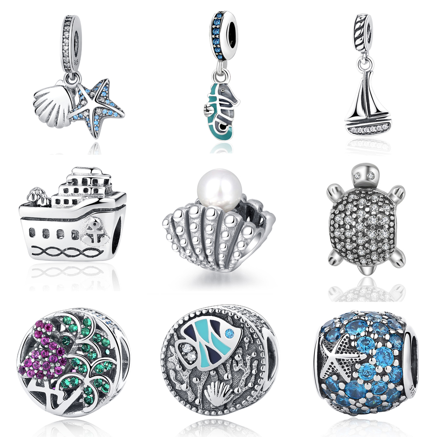 cb094e0c1 Authentic 925 Sterling Sliver Bead Charm Cute Sea Turtle With Full Crystal  Beads Fit Original Pandora DIY Bracelets Bangles