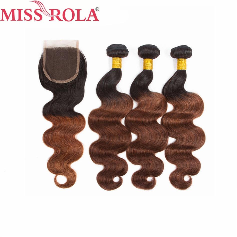 Miss Rola волосы перуанские волнистые волосы ткачество 3 пряди с закрытием # T1B/33 цвета 100% человеческие волосы не Remy волосы для наращивания