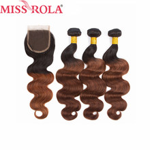 Miss Rola Hair Peruvian Body Wave Hair Weaving 3 Bundles With Closure #T1B/33 Color 100% Human Hair Non-Remy Hair Extensions(China)