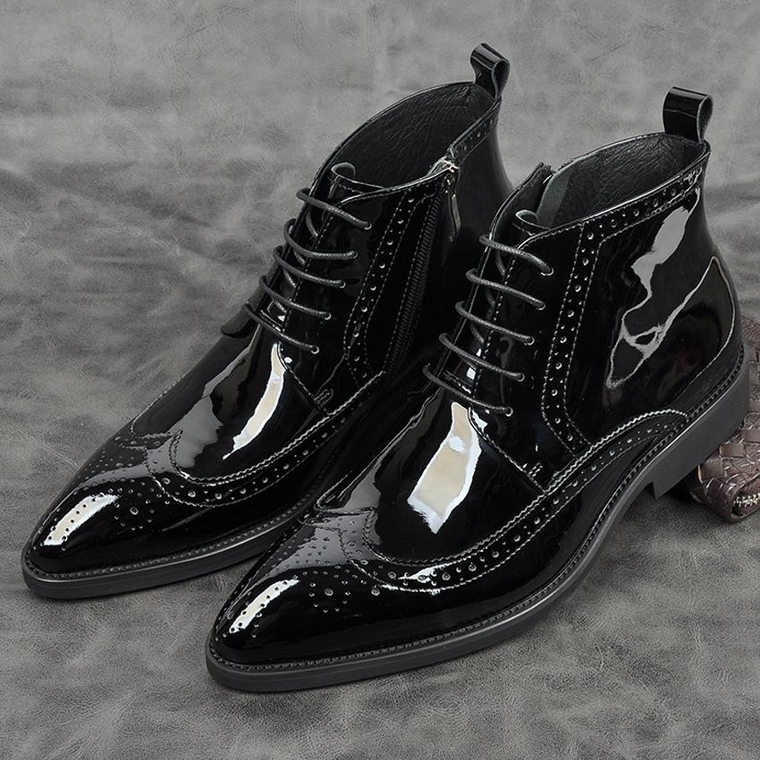 New Luxury Patent Leather Formal Dress Man Wedding Ankle Boots Pointed Toe Men's Wingtip Brogues Cowboy Riding Shoes AM187