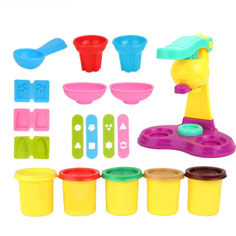 Kids Ice Cream Machine Clay Play Toy Colorful Fast Food Creative Baby Kids Plasticine Toy Tool Mold Kits Ideal Gift