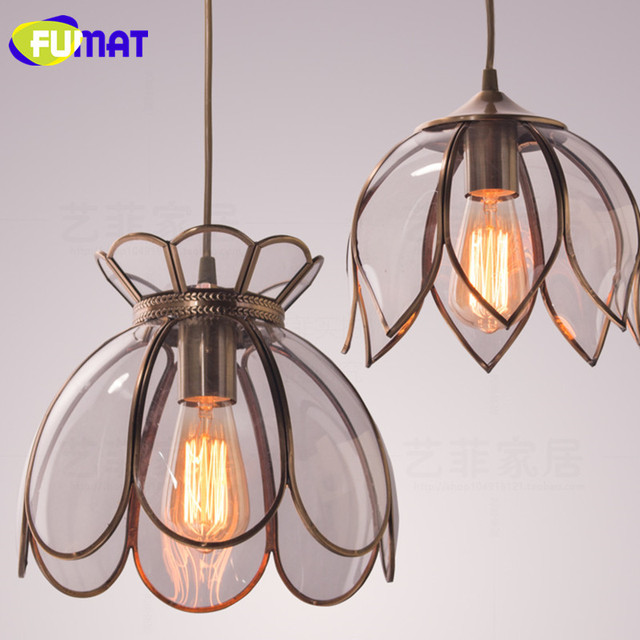 Fumat american vintage lotus lampshade pendant light single head fumat american vintage lotus lampshade pendant light single head copper hanging lamp bedroom dinning room entrance aloadofball Image collections