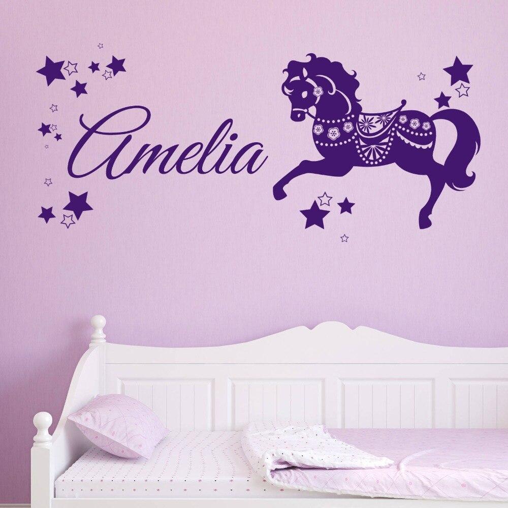 Custom made name cute horse pony unicorn wall decal beautiful vinyl wall stickers girls bedroom children kids room decoration