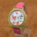 Handmade POLYMER CLAY Korea Mini word Diamond Dress Women Kid Watches butterfly Women dress wristwatches,Hot Selling
