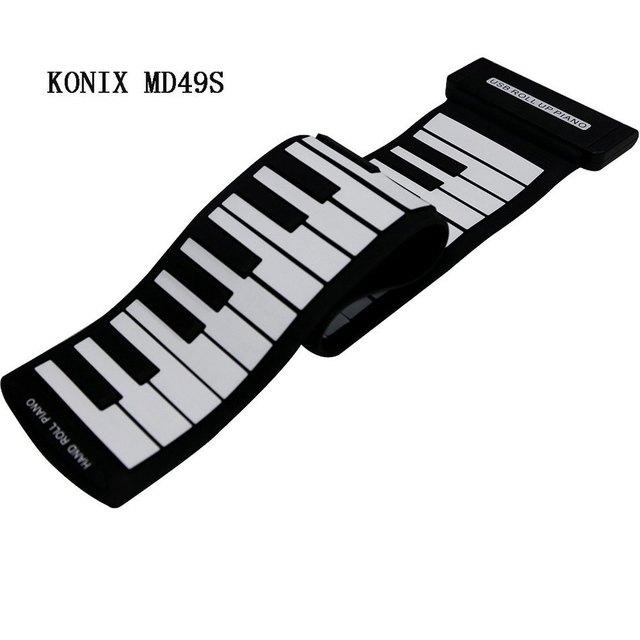 49 Chave de Silicone Flexível Roll Up Piano Silicone Preliminar Eletrônico Ferramenta de Treinamento Profissional Instrumento Musicial KONIX MD49S