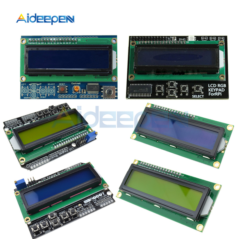 Brightness Adjustable 1602 LCD Shiled I2C MCP23017 5 keypad For