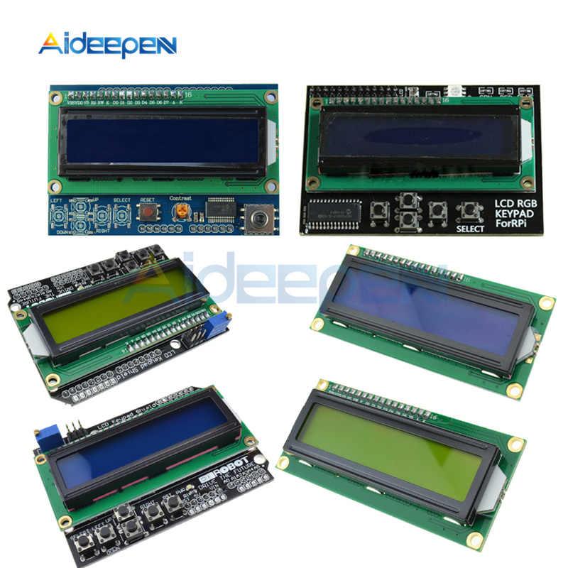 Módulo LCD 1602 RGB azul/Pantalla amarilla MCP23017 16x2 IIC I2C placa adaptadora, tabla de expansión para Arduino Mega UNO R3 Robot 3,3 V 5V