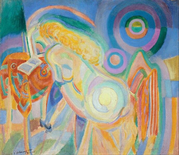 Canvas Art Prints Stretched Framed Giclee World Famous Artist Oil Painting Robert Delaunay <font><b>Femme</b></font> <font><b>Nue</b></font> <font><b>Lisant</b></font> <font><b>Nude</b></font> <font><b>Woman</b></font> <font><b>Reading</b></font>