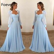 Длинное шифоновое платье без бретелек для выпускного вечера вечерние платья трапециевидной формы с пышными рукавами небесно-Голубые Вечерние платья Vestidos De Gala