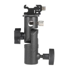 Универсальный металлический держатель типа E для вспышки «Горячий башмак», держатель для зонта, светильник-подставка с винтовым поворотным адаптером 1/4-3/8 дюйма