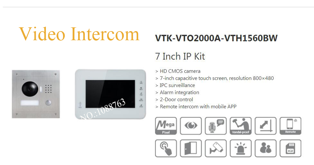 Free Shipping DAHUA Video Intercom 7 Inch IP Kit Support Mobile APP HD CMOS camera Without Logo VTK-VTO2000A-VTH1560BW
