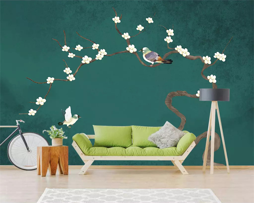 beibehang papel de parede Custom wallpaper new Chinese landscape hand painted plum blossoms birds decorative painting background in Wallpapers from Home Improvement