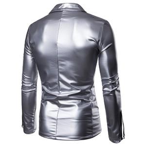 Image 4 - PU Leather Suit Blazer Men 2018 Luxury Gold Solid Color Blazers Jacket Mens Casual Slim Fit Cardigan Nightclub DJ Stage Costumes