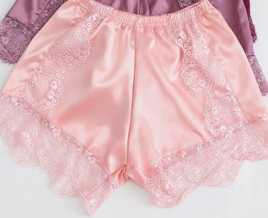Sell Qualify Women Satin Silk Lingerie Shorts Wide Leg Underpants Lace Fill Elastic Waist Cozy Summer Cool Feeling Underwear