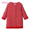 Pettigirl novo design meninas casaco vermelho e branco dot manga longa meninas jaqueta crianças vestuário de varejo oc80710-19