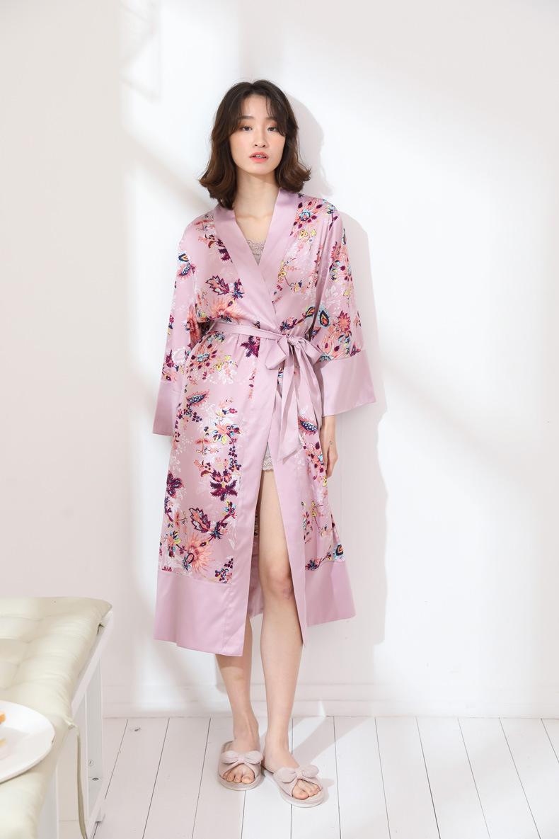 Long Silk Robe for Women Silk Bathrobe Feminine Satin Dressing Gown ... f87fa02c9d9d