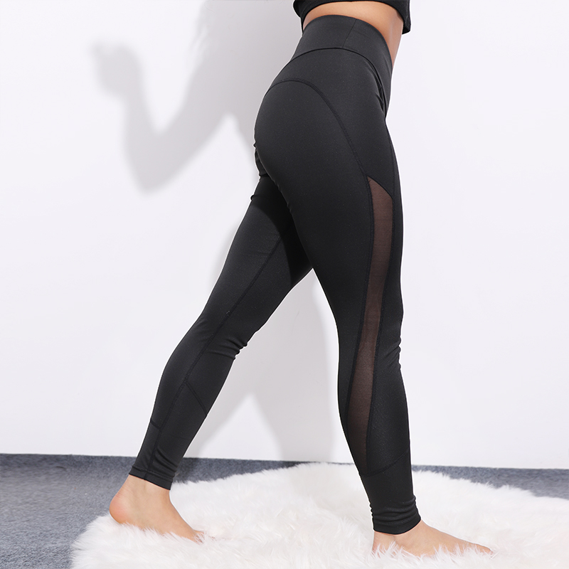 CHRLEISURE High Waist Mesh Leggings Women Sexy Activewear Push Up Pants Elastic Breathable Patchwork Fitness Workout Leggings