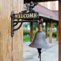 European Angel Design Home Garden Decor Cast Iron Wall Mounted Welcome Signs Plate With Hanging Hand Cranking Bell