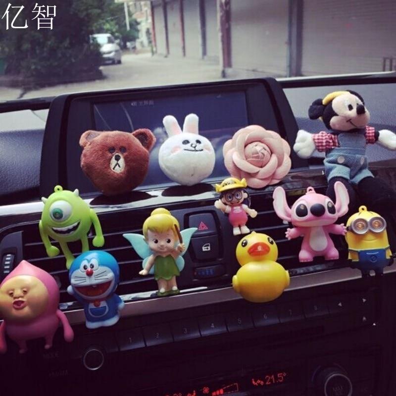 YZ 1 unids coche de dibujos animados Perfume mini muñeca sólido ambientador niña car styling