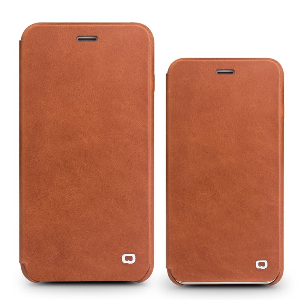QIALINO fodral för iPhone 7 plus lyxigt äkta läder Flip Folio - Reservdelar och tillbehör för mobiltelefoner - Foto 5