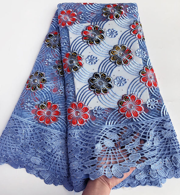 Floral super wax Hollandais embroidered African french lace net tulle fabric with guipure lace borders High quality 5 yards /pc