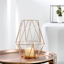 PINNY Nordic Modern Simplicity Hollow Candlestick Gold Geometric Candle Holders Home Decorative Candles Wedding Centerpiece