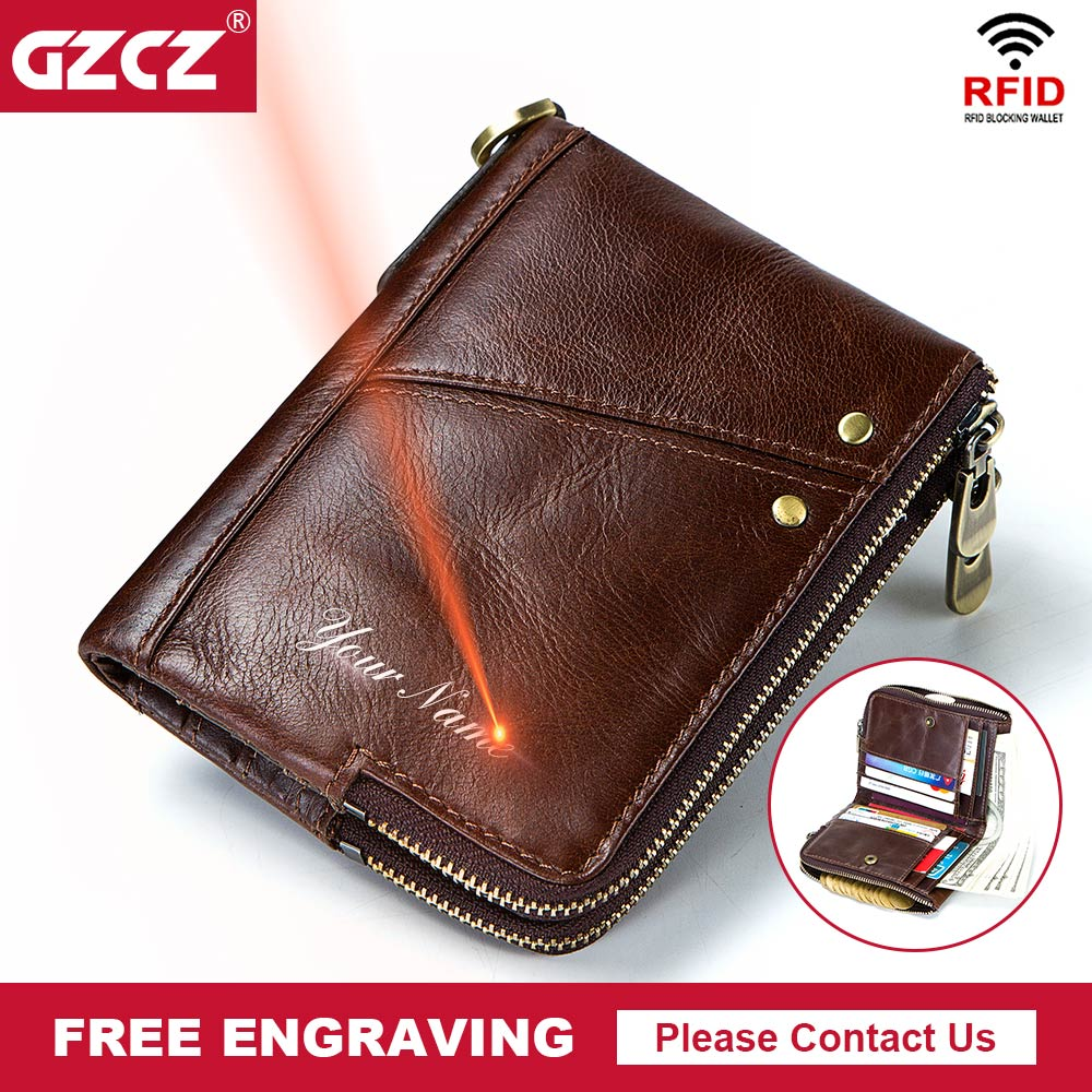 GZCZ 2018 Rfid Genuine Leather Men Wallet Small Walet Male Cuzdan Short Coin Purse Free Engrae PORTFOLIO Card Holder Portomonee gzcz genuine leather wallet men zipper design bifold short male clutch with card holder mini coin purse crazy horse portfolio