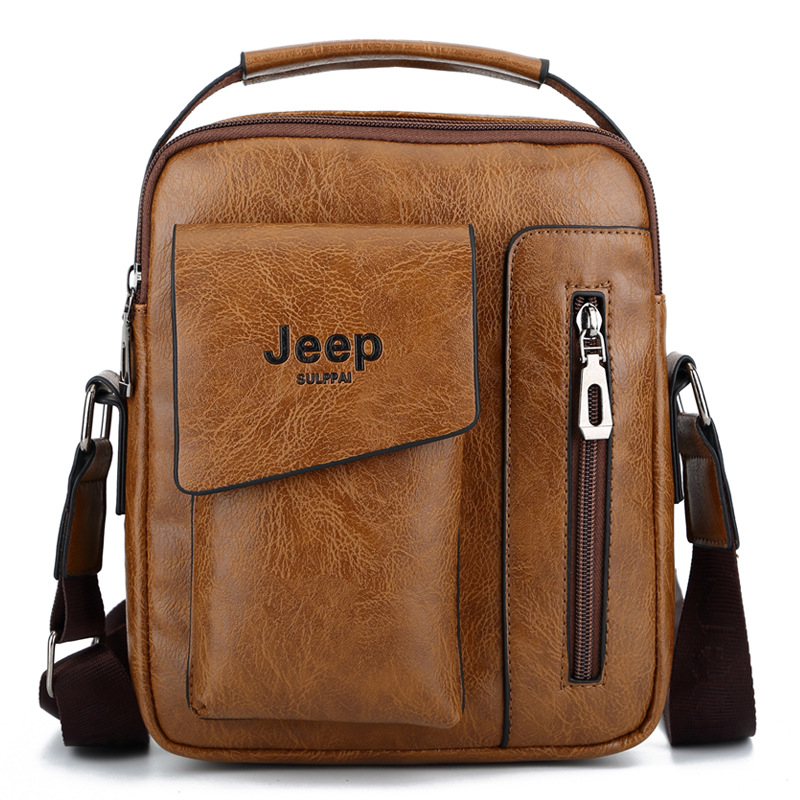 JEEP Sulppai Men's Leather Vintage Color Messenger Bag Shoulder Bag Crossbody Bag with Top Handle and Should Strap vintage women s crossbody bag with color block and buckle design