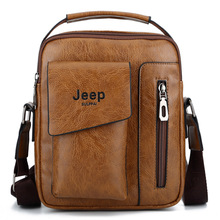 JEEP Sulppai Men's Leather Vintage Color Messenger Bag Shoulder Bag Crossbody Bag with Top Handle and Should Strap KSL716M