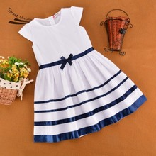 2 To 7 Years Baby Girls Summer Style Bow Striped Party Dresses High Quality Kids Clothes Vestidos Mujer Roupa Infantil