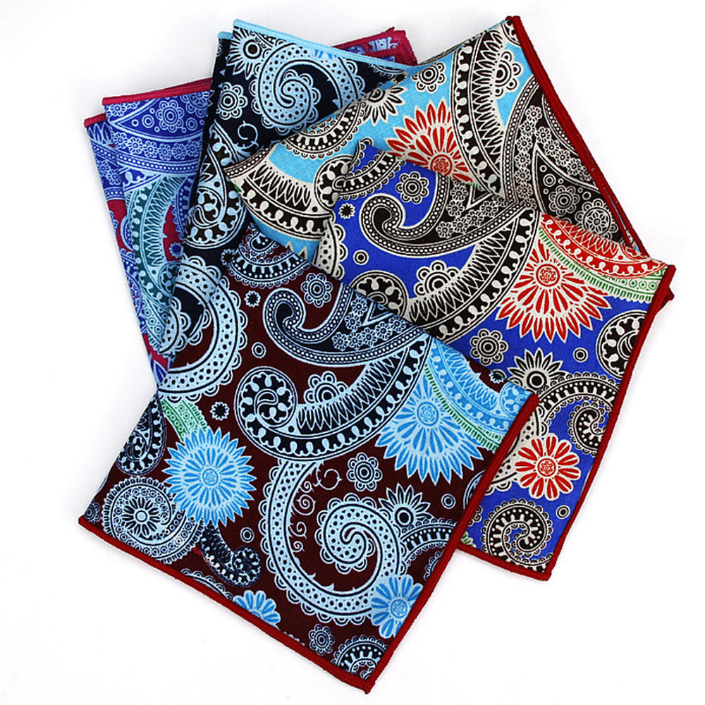 Men High Quality Paisley Print Handkerchief Hanky Wedding Business Pocket Square YFTIE0234