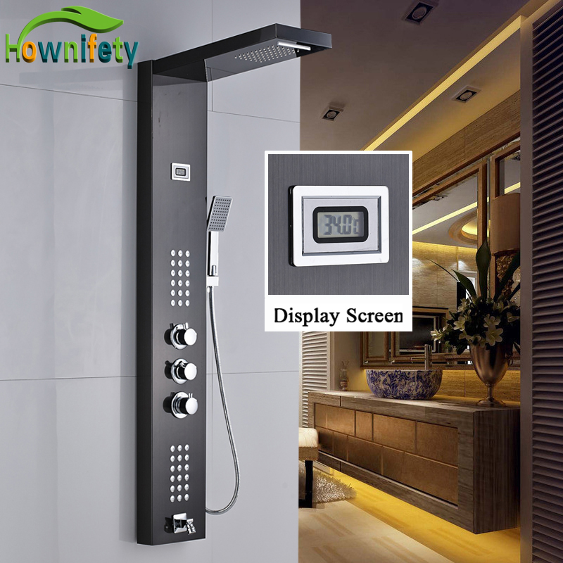 Oil Rubbed Bronze Bathroom Shower Faucet Thermostatic Shower Panel Waterfall and Rainfall Shower Head with Hand Shower china sanitary ware chrome wall mount thermostatic water tap water saver thermostatic shower faucet