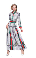 womens ladies 2018 Designer print shirt neck runway Casual beach long sleeves maxi Skater Swing dress clothing clothes for women