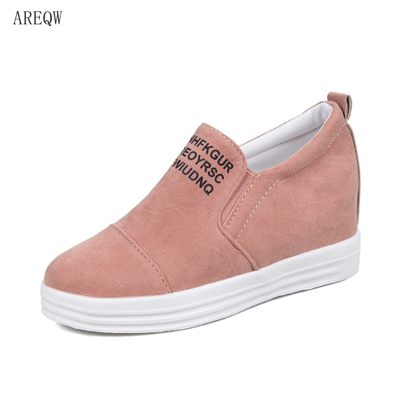 Breathable Spring Fashion Women Flat Platform Solid Casual Shoes Ladies Slip-on Round Toe Shoes Loafers Shoe Plus Size 36-42